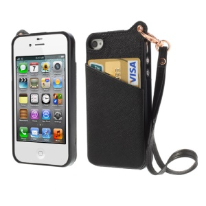BADI Card Slot Leather Coated TPU Case Cover for iPhone 4 4S w/ Handstrap - Black