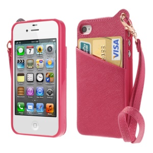 BADI Card Slot Leather Coated TPU Back Shell for iPhone 4 4S w/ Handstrap - Rose