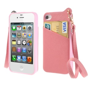 BADI Card Slot Leather Coated TPU Skin Cover for iPhone 4 4S w/ Handstrap - Pink