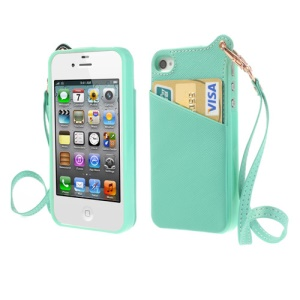 BADI for iPhone 4 4S Card Slot Leather Coated TPU Shield Case w/ Handstrap - Cyan