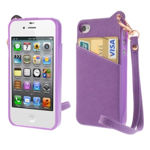BADI for iPhone 4 4S Card Slot Leather Coated TPU Shell w/ Handstrap - Purple