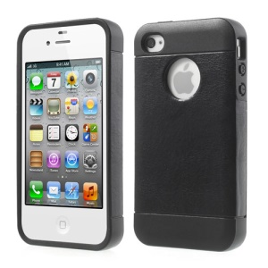 Crazy Horse Leather Coated Soft TPU Case for iPhone 4 4S - Black