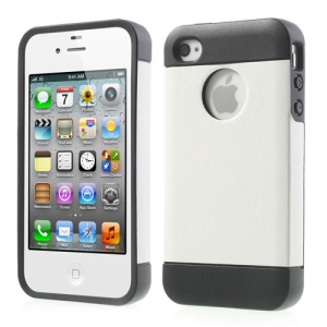 Crazy Horse Leather Coated TPU Case Cover for iPhone 4 4S - White