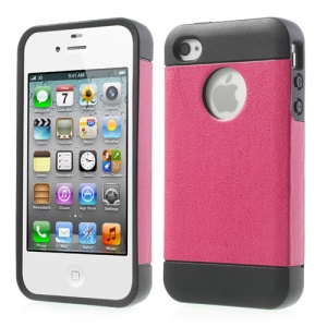 Crazy Horse Leather Coated TPU Gel Case for iPhone 4 4S - Rose