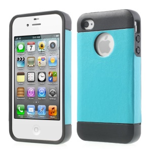 For iPhone 4 4S Crazy Horse Leather Coated TPU Cover Shell - Blue