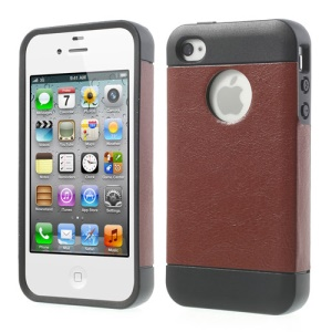 For iPhone 4 4S Crazy Horse Leather Coated TPU Phone Case - Brown