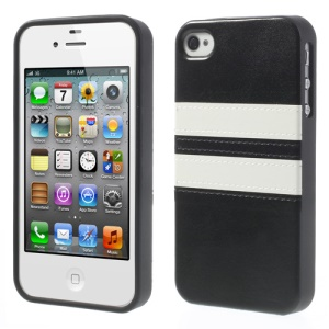 Stripe Crazy Horse Leather Coated TPU Cover Case for iPhone 4 4S - Black