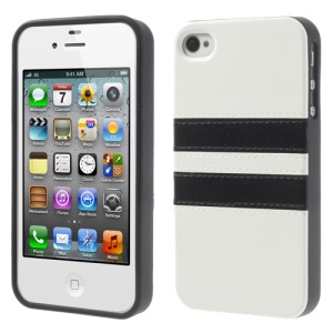 Stripe Crazy Horse Leather Coated TPU Back Case for iPhone 4 4S - White