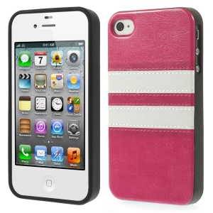 For iPhone 4 4S Stripe Crazy Horse Leather Coated TPU Case Shell - Rose