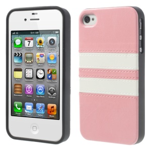 For iPhone 4 4S Stripe Crazy Horse Leather Skin TPU Phone Case - Pink