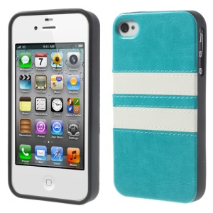 Stripe Crazy Horse Leather Coated TPU Cover for iPhone 4 4S - Blue