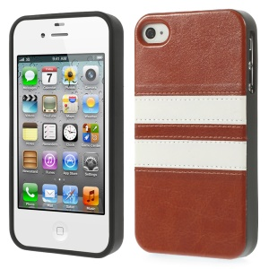 Stripe Design Crazy Horse Leather Coated TPU Shell for iPhone 4 4S - Brown
