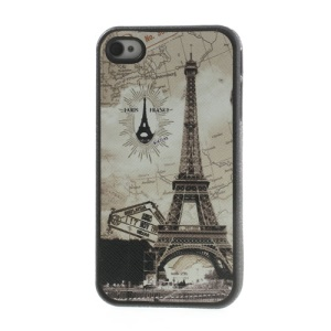Eiffel Tower Leather Coated TPU Case for iPhone 4 4s