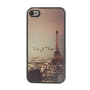 Famous Eiffel Tower Leather Coated TPU Shell Case for iPhone 4 4s
