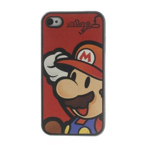 Super Mario Leather Coated TPU Gel Case for iPhone 4 4s - Red Background
