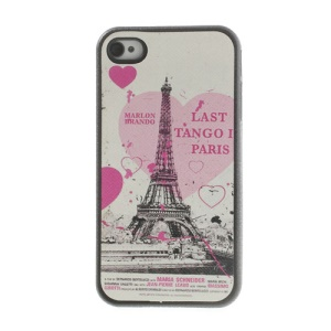 Heart Eiffel Tower Leather Coated TPU Shell for iPhone 4 4s