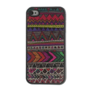 Tribe Geometric Pattern Leather Coated TPU Cover for iPhone 4 4s