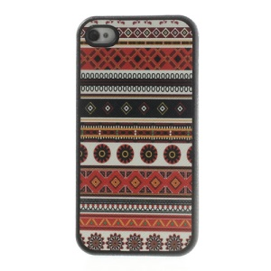 Tribal Tribe Pattern Leather Coated TPU Gel Cover for iPhone 4 4s