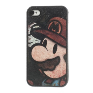 Super Mario Leather Coated TPU Back Case for iPhone 4 4s - Black Background