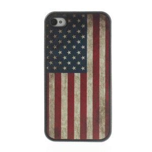 Vintage USA American Flag Leather Coated TPU Protective Case for iPhone 4 4s