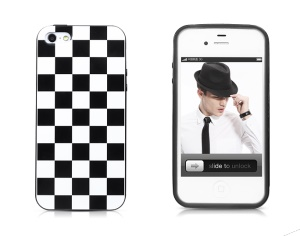 Takefans Checkerboard for iPhone 4 4S Glossy Soft TPU Case - Black