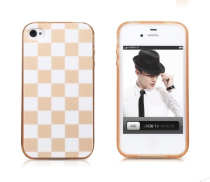 Takefans Checkerboard Glossy TPU Gel Case for iPhone 4 4S - Apricot