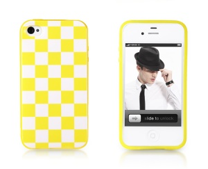 Takefans Checkerboard Glossy TPU Skin Case for iPhone 4 4S - Yellow