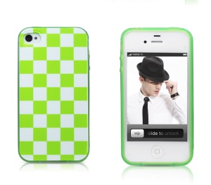 Takefans Checkerboard Glossy TPU Cover Case for iPhone 4 4S - Green