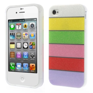 Colorful Rainbow Glittery Powder TPU Back Case for iPhone 4 4s - White