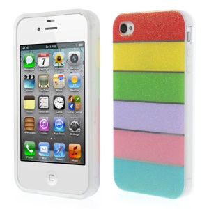 Colorful Rainbow Glittery Powder TPU Back Case for iPhone 4 4s - Red