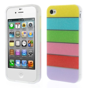 Colorful Rainbow Glittery Powder TPU Gel Case for iPhone 4 4s - Yellow