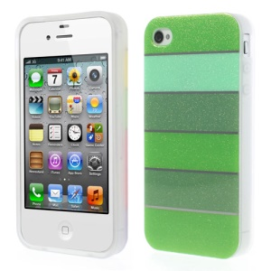 Colorful Rainbow Glittery Powder TPU Gel Case for iPhone 4 4s - Green