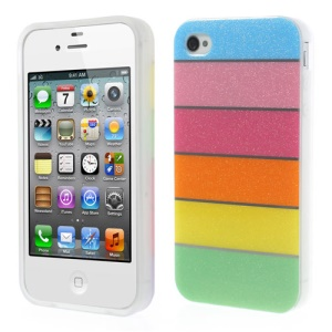 Colorful Rainbow Glittery Powder TPU Gel Cover for iPhone 4 4s - Blue