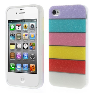 Colorful Rainbow Glittery Powder TPU Gel Cover for iPhone 4 4s - Purple
