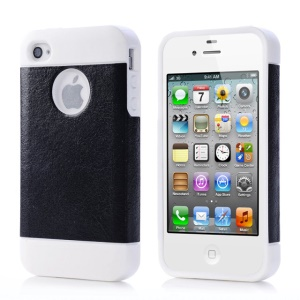 Black for iPhone 4 4s Crazy Horse Leather Coated TPU Gel Cover