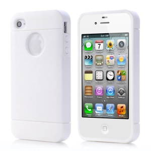White for iPhone 4 4s Crazy Horse Leather Coated TPU Gel Cover