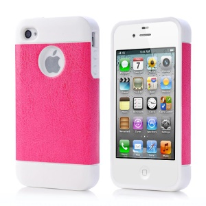 Rose for iPhone 4 4s Crazy Horse Leather Coated TPU Gel Cover