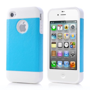Blue for iPhone 4 4s Crazy Horse Leather Coated TPU Shell Case