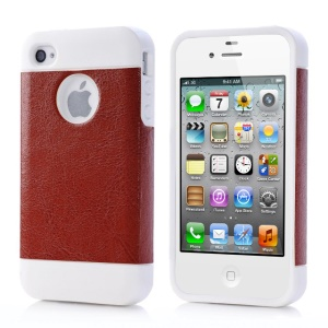 Brown for iPhone 4 4s Crazy Horse Leather Coated TPU Shell Case