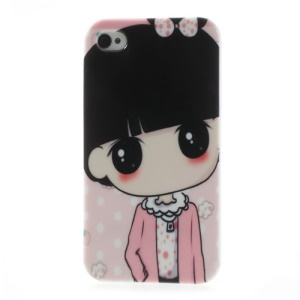 Lovely Girl in Pink Clothes Soft TPU Gel Shell for iPhone 4 4S