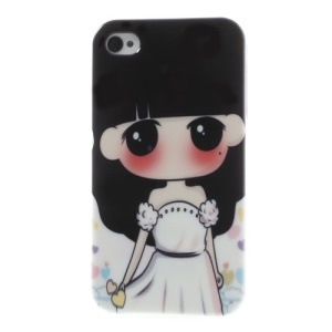 Lovely Girl in White Dress TPU Phone Cover for iPhone 4 4S