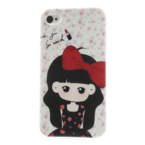 Floral Background Girl Wearing Bowknot Pattern for iPhone 4 4S TPU Case