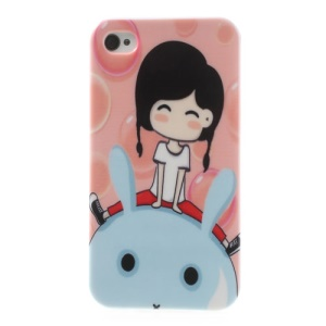 Smiling Girl Sitting on the Rabbit for iPhone 4 4S TPU Phone Shell