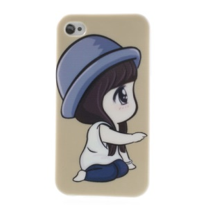 For iPhone 4 4S TPU Protective Case Cute Little Girl Pattern