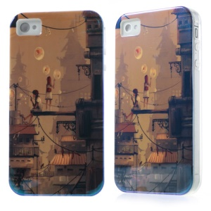 For iPhone 4 4S Blu-ray IMD TPU Case - Boy & Girl Blowing Bubbles
