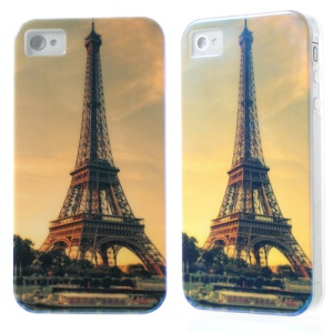 For iPhone 4 4S Blu-ray IMD Soft TPU Phone Case - Eiffel Tower