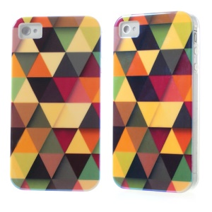 Blu-ray IMD TPU Protector Cover for iPhone 4 4S - Triangles Pattern