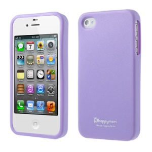 For iPhone 4 4S Happymori Solid Color Matte Soft TPU Phone Cover - Purple