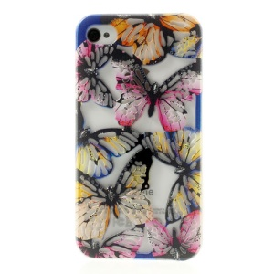 Hollow Out Butterflies Glitter Powder TPU Case Cover for iPhone 4 4S - Black