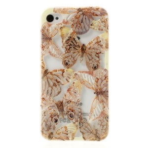 Hollow Out Butterflies Glitter Powder Soft TPU Case for iPhone 4 4S - Brown